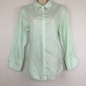 Brooks Brothers 346 Womens Green Striped Shirt